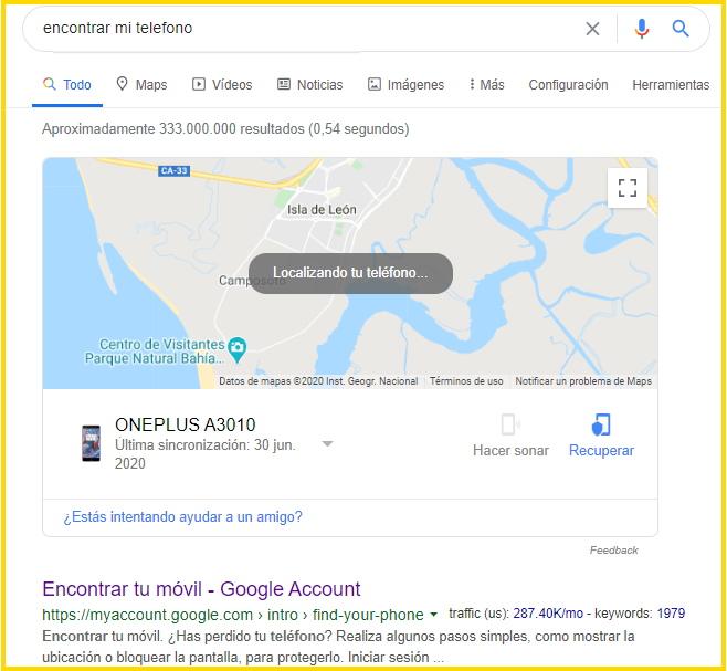"""buscador de google con la búsqueda de """"encontrar mi telefono"""""""